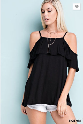 Cold Shoulder Top With Spaghetti Straps and Ruffled Neckline