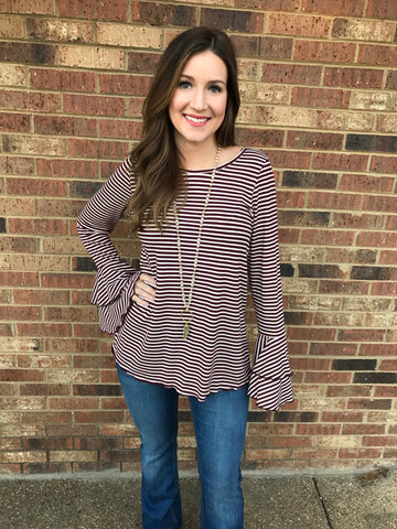 Striped top with ruffle bell sleeve