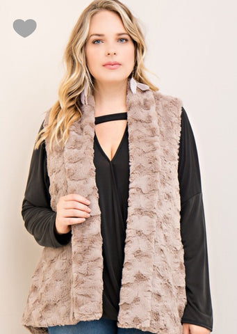 Women's Solid Faux Fur Vest with Side Pockets and High Low Hem