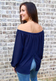 Solid Off Shoulder Woven Top