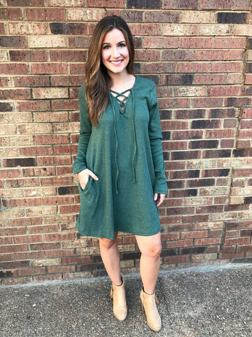Long Sleeve Lace Up A Line Dress