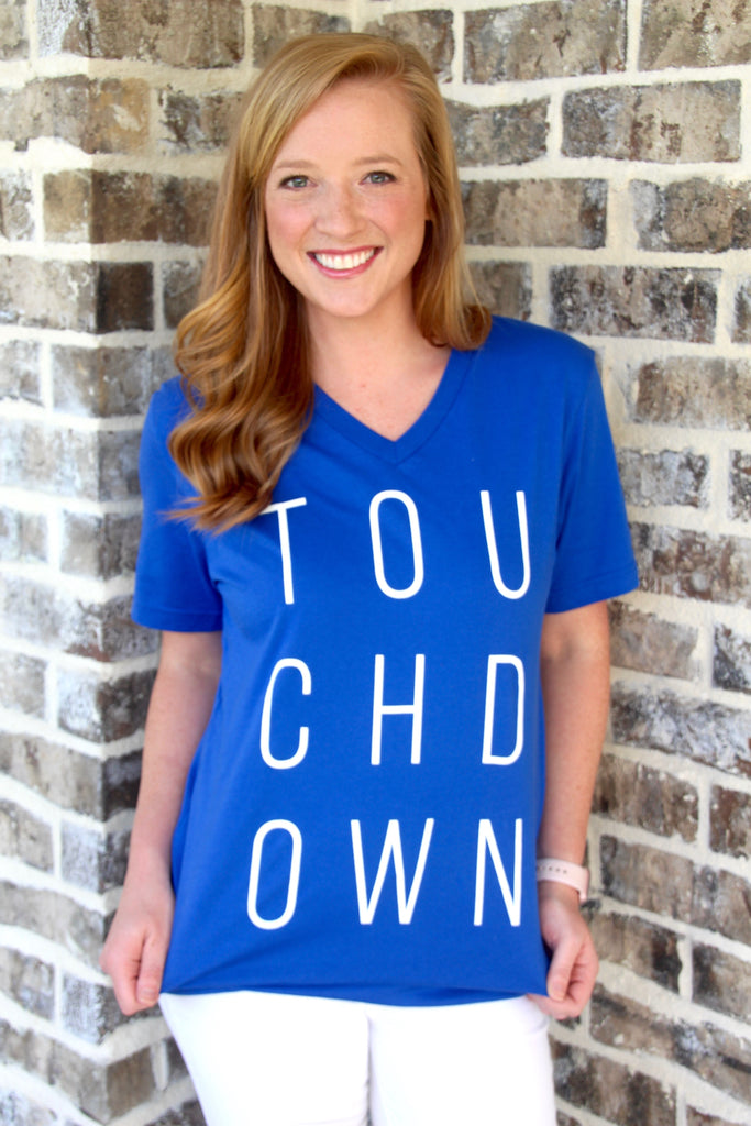 Touchdown Short Sleeve V Neck Tee Shirt