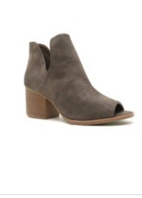 Suede Open Toe Taupe Bootie zipper back