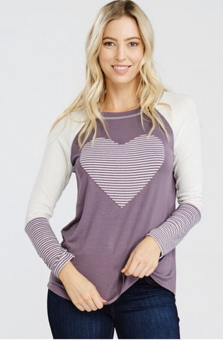 Solid Jersey Knit Top with Long Striped Sleeves val
