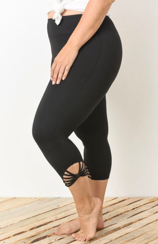 Knit Capri w/ Webbed strap detail athletic