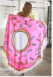 Micro Fiber Terry Cloth Donut Print Round Beach Throw