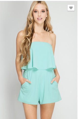 Ruffle Tube Top Romper with Pockets