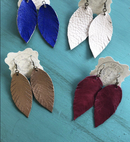 Leather Fringe Feather Earrings