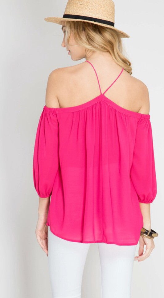 3/4 Sleeve Off Shoulder Halter Top