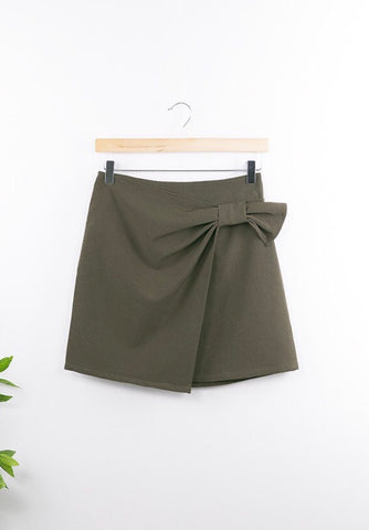 Wrap Mini Skirt with Ribbon