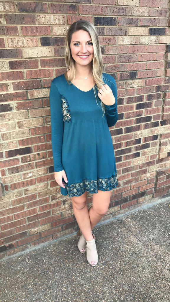 Long Sleeve Acid Wash Dress with Contrasting Pattern Hem
