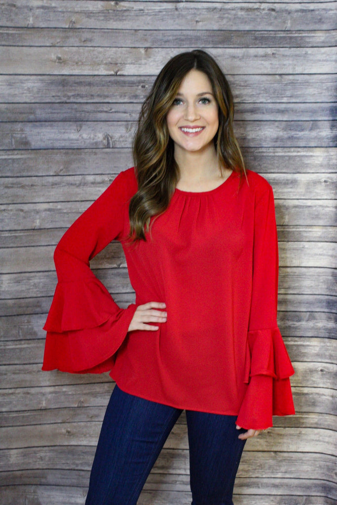 Solid Layered Bell Sleeve Back Keyhole Button Top val
