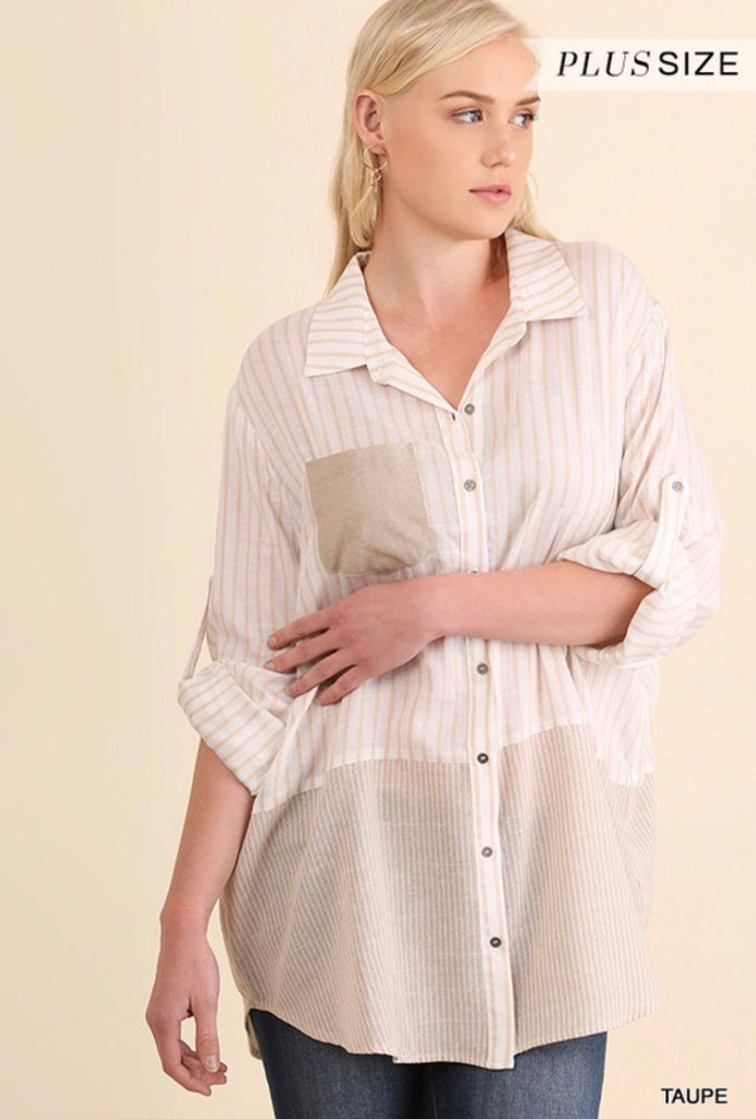 Long Sleeve Stripe Collar Shirt