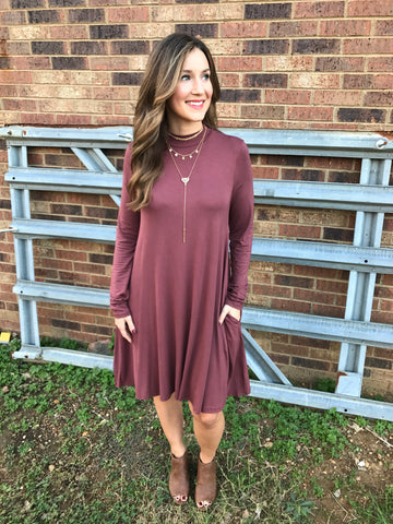 Mock Neck Pocket Dress