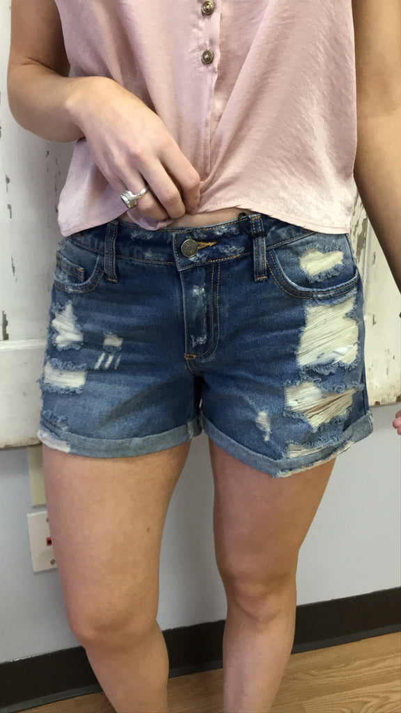 Distressed Boyfriend Fit Denim Short