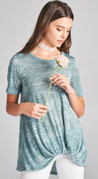 Melange Knit T Shirt with Short Sleeves with Side Knot at Hip