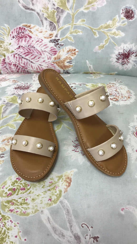 Nude Slip On Sandal with Pearls