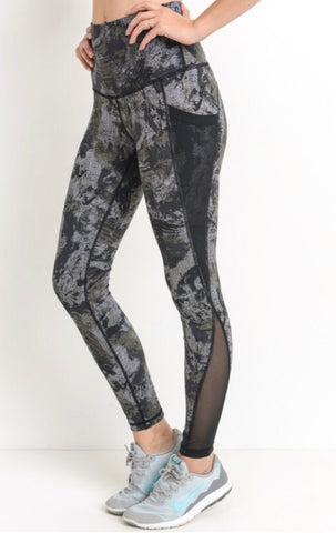Abstract Dark athletic wear w/ mesh detail