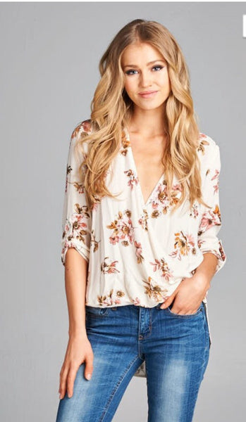 Wrap Front 3/4 Sleeve High Low Floral Print Blouse
