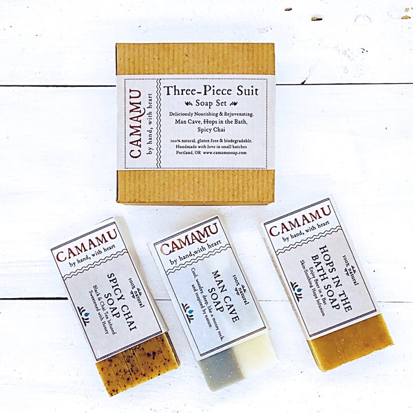 Three-Piece Suit: Camamu Handmade Soap Set for Him