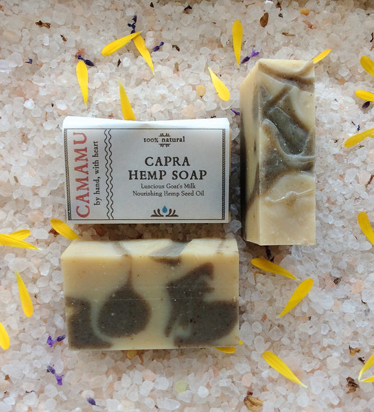 camamu capra hemp soap all natural handmade vegan gluten free soap portland oregon goat's milk soap goat milk hemp seed oil soap nourishing moisturizing soap skin brightening soap restorative reparative soap anti-microbial soap thyme essential oil for anti-microbial function in soap handmade soap oregon hemp seed oil masculine soap