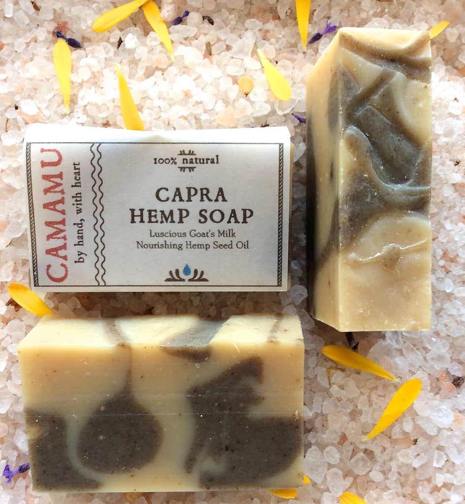 Capra Hemp Soap is one of Camamu Soap's richly moisturizing goat's milk soap scented with antiseptic essential oils and superfatted with hemp seed oil