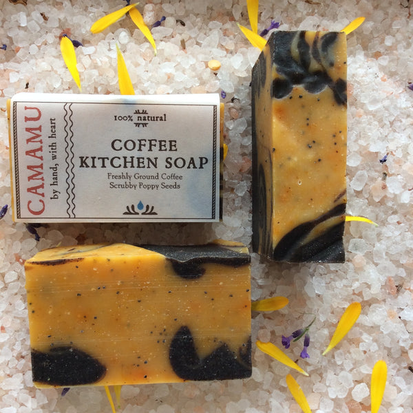 Camamu's all natural, handmade Coffee Kitchen Soap helps to alleviate cooking orders from the hands while poppy seeds help remove sticky bits.