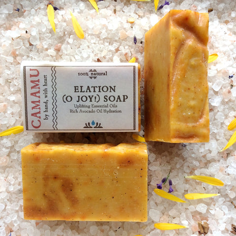 Camamu's handmade all natural Elation Soap is scented with stress-reducing essential oils and super-fatted with avocado oil.