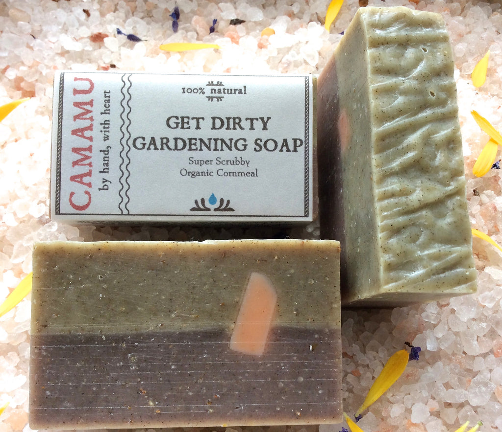 Camamu's Get Dirty Gardening Soap provides a gritty cleaning of hard working hands. Made with organic cornmeal and anti-septic essential oils.