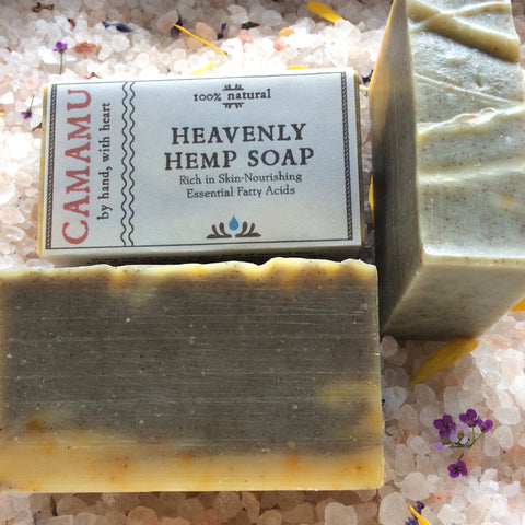 Camamu Soap's all natural and handmade Heavenly Hemp Soap is made with richly nourishing, essential fatty acid-rich, deeply moisturizing hemp seed oil and scented with earthy, grounding essential oils.