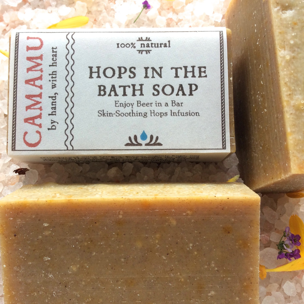 Camamu Soap's all natural hops-infused soap, Hops in the Bath, invites you to have a beer in a bar (of soap!)