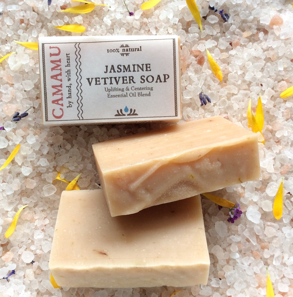 Sensually scented with jasmine, vetiver and sweet orange essential oils, this creamily moisturizing, all natural soap is handmade by Camamu Soap.