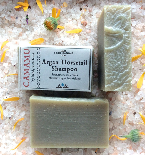 All natural hair strengthening dandruff bar shampoo handmade with argan oil and infused with organic horsetail