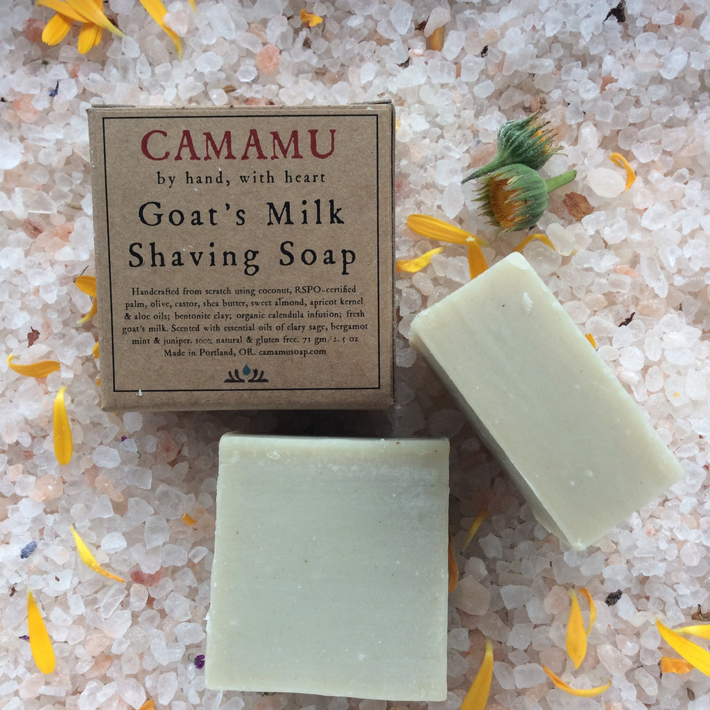 Handmade, all natural shaving soap infused with organic herbs, scented with pure essential oils and made with skin-nourishing oils that create a dense lather and clays for a smooth shave.
