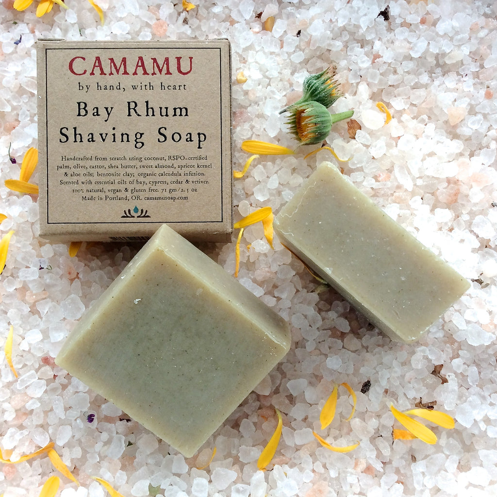 Camamu Soap's classic all natural handmade shaving soap scented with bay and spicy essential oils