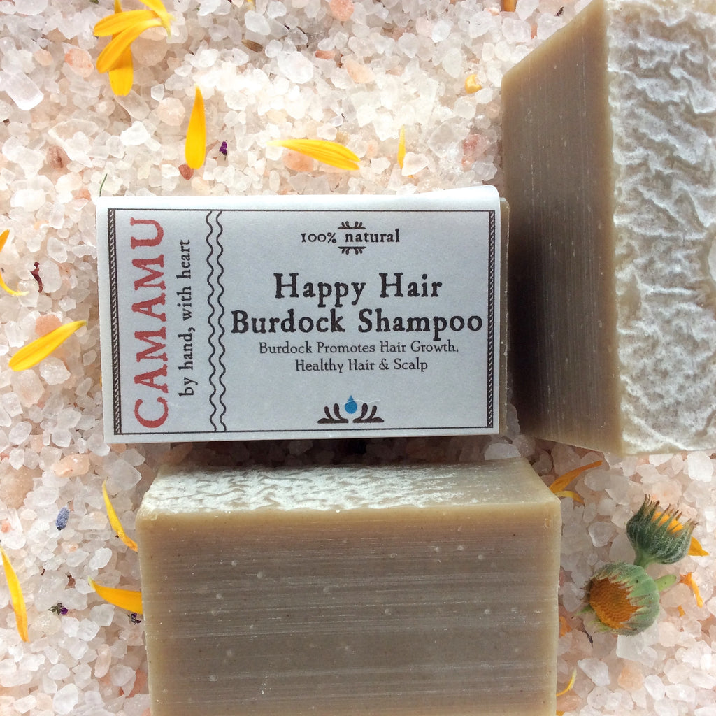 Camamu's Happy Hair Burdock Shampoo is a plastic-bottle free, all natural, handmade shampoo made from luscious, conditioning base oils and energizing minty essential oils.