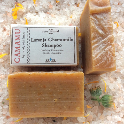camamu's laranja chamomile shampoo, chamomile-infused shampoo, all natural handmade bar shampoo, all natural vegan gluten-free handmade shampoo, travel shampoo, non-liquid shampoo, plastic-bottle free shampoo, waste-free shampoo, hair conditioning shampoo, handmade shampoo portland oregon