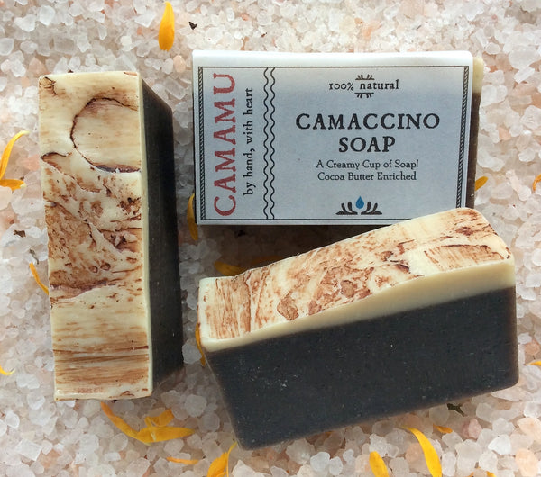 camamu camaccino soap skin brightening coffee soap organic coffee soap handmade all natural coffee soap portland oregon cellulite reducing soap exfoliating soap skin smoothing soap skin clarifying soap anti-acne soap