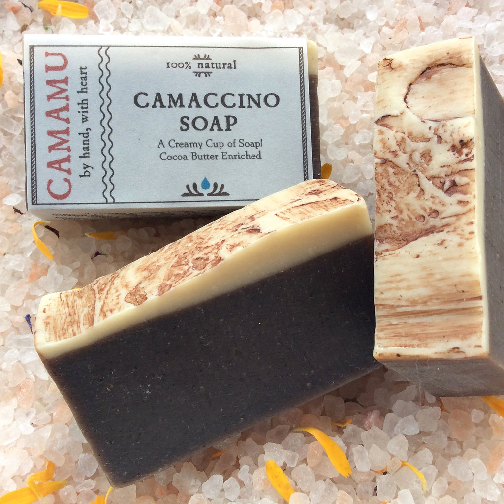 Camamu Soap's all natural handmade Camaccino Soap made with organic coffee for skin brightening and tightening