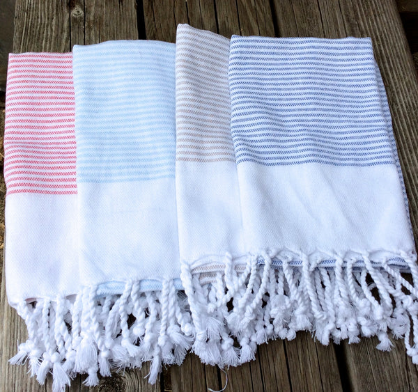 Traditional Pestemal Turkish Towels - Hand Towels - Stripey