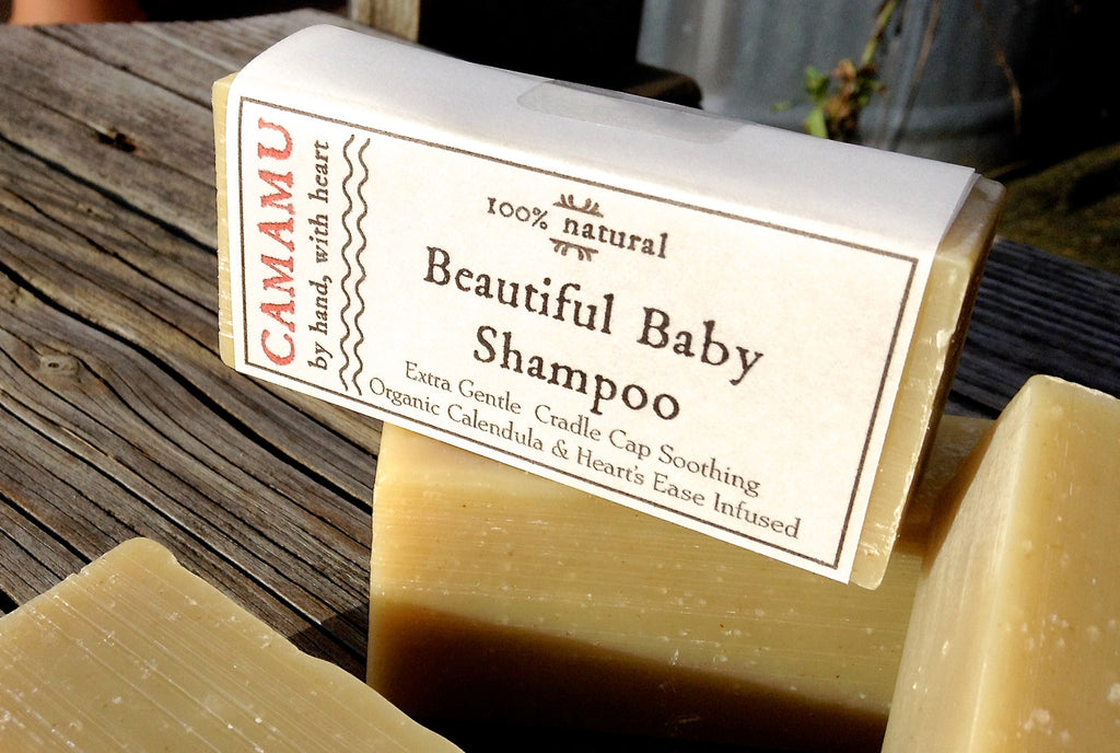 Camamu's all natural Beautiful Baby Shampoo infused with organic calendula and heart's ease for lessening cradle cap