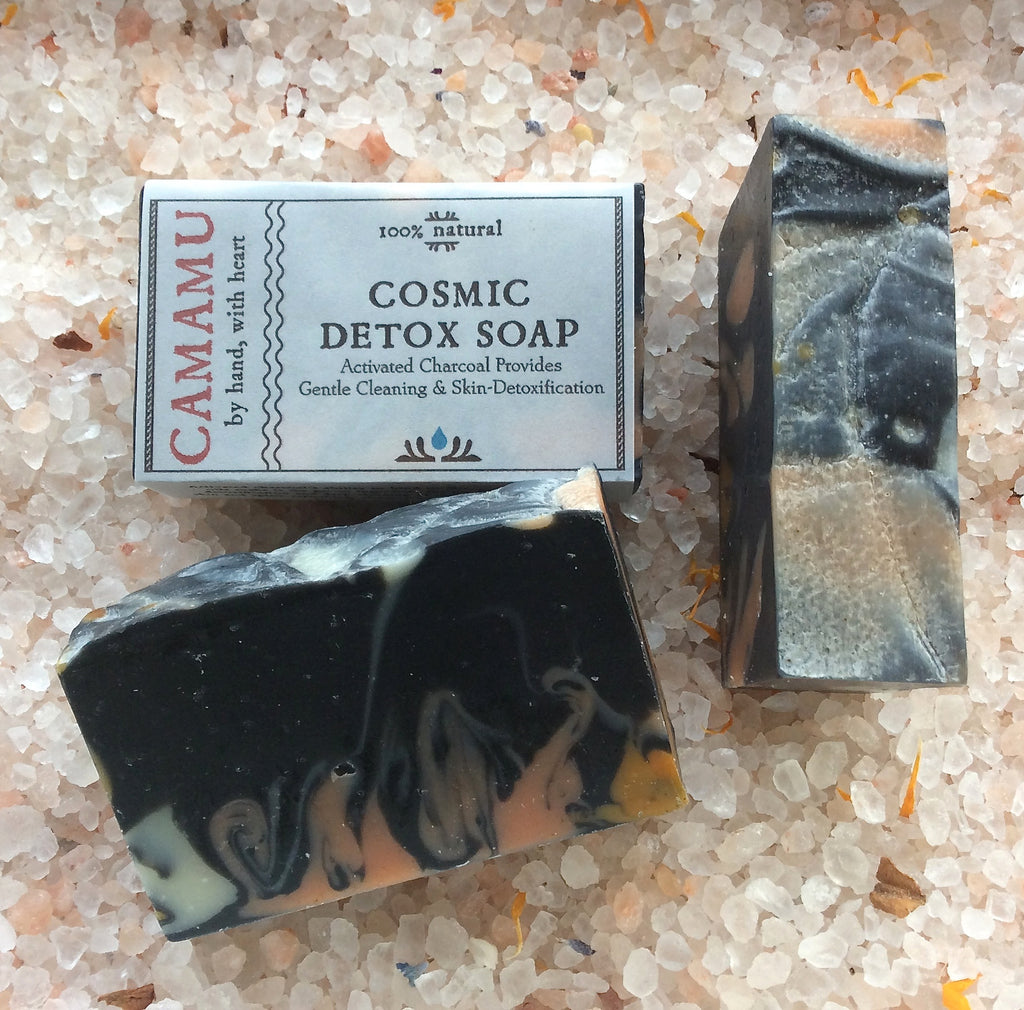 Camamu Soap's Cosmic Detox Soap is scented with detox-supporting essential oils, swirled with a cosmos of color and contains activated charcoal for deep cleaning pores and detoxifying the skin.