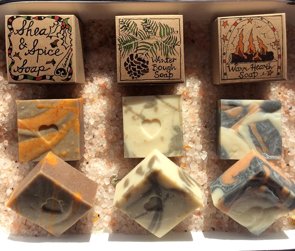 camamu shea & spice soap, camamu warm hearth soap, camamu winter bough soap, holiday soap, gift soaps chunk soaps, holiday chunk soaps, handmade all natural soap, handmade all natural gift soap, handmade holiday soap, shea butter soaps