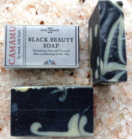 Camamu Soap's detoxifying Black Beauty Soap contains kaolin clay, activated charcoal and an essential oil blend that augments this soap's detoxification properties
