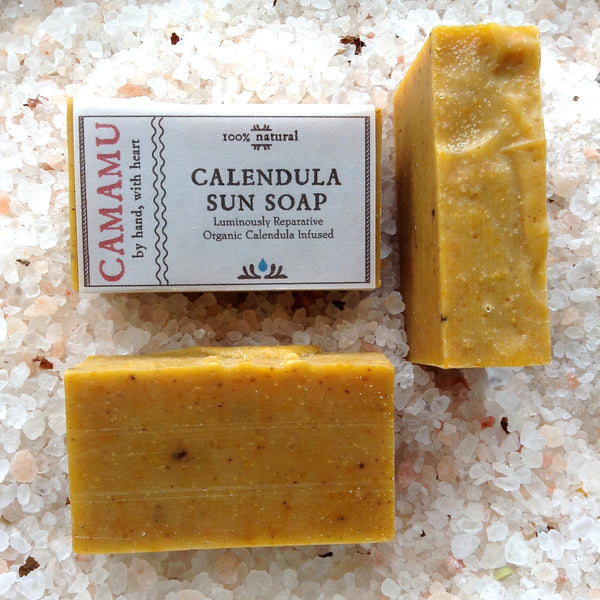 Camamu Soap's Calendula Sun Soap, handmade, all natural, infused with organic skin-healing calendula and scented with skin-rebalancing geranium essential oil
