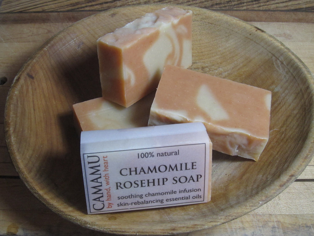 Camamu Soap's all natural handmade Chamomile Rosehip Soap infused with organic chamomile for skin soothing and super-fatted with skin softening, nourishing rose hip seed oil