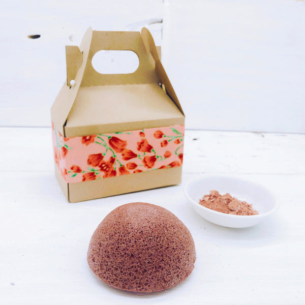 French Red Clay Konjac Sponge in Gift Box