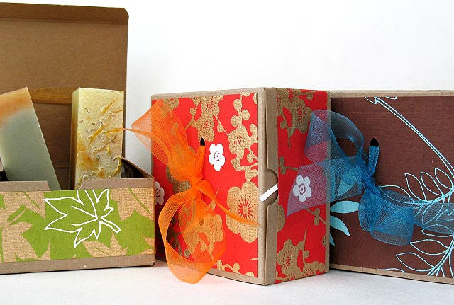 Camamu's lovely hand-papered kraft gift boxes containing two 4-oz bars of our all natural, handmade soap.