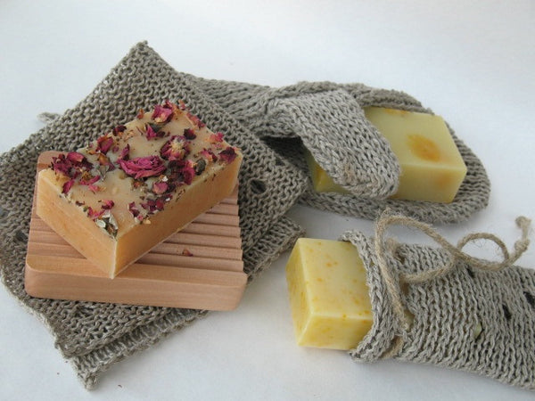 Camamu offers a hand-knit hemp soap bag that perfectly fits our 4 ounces of soap. Naturally mildew-resistant and made in the USA.