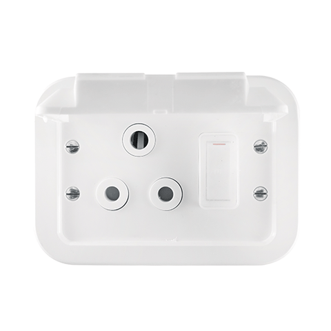 Crabtree - Industrial Single 16A Weatherproof Socket in Surface Box - 1460WP
